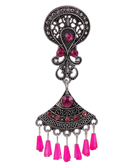 Style and Comfort Antique Shocking Pink Stones Ear Rings - ER-7304