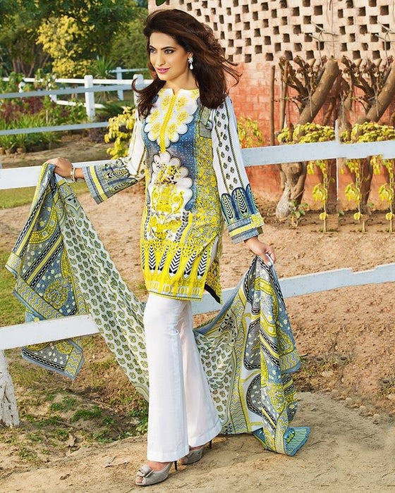 Gul Ahmed Yellow Spring/Summer 2017 Collection Two Piece Embroidered Lawn-TL # 58 A