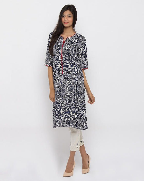 Style Inn Dark Blue & Offwhite Cotton Linen Printed Smart Kurta For Women