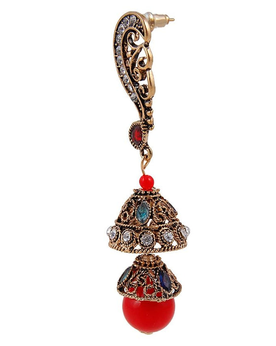Style and Comfort Red Stones Antique Ear Rings - ER-7301