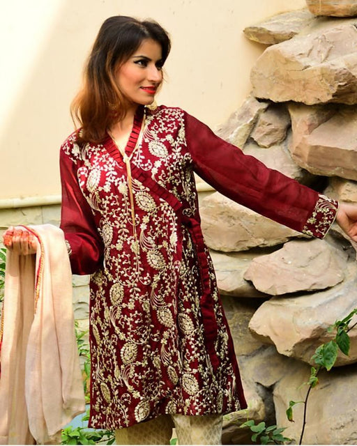 Palwasha Fabrics Maroon Khaadi Net Stitched Suit for Women - 3pcs