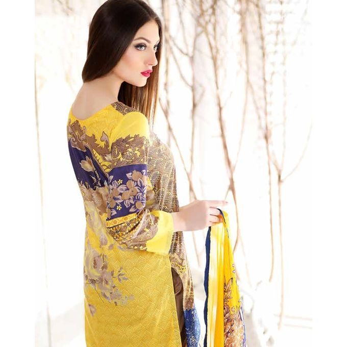 House of Charizma Yellow Un-stitched Charizma Combination Embroidered Lawn Collection spring summer Vol 2-2017