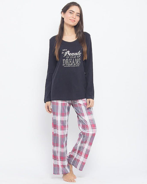 Style and Comfort Black Cotton Beauty Of Dream T-Shirt With Multicolour Checkered Cotton Trouser - LD-6144