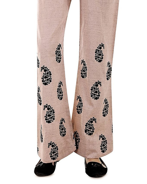 Lala Beige Cambric Embroidered Fantaisie Trouser Collection
