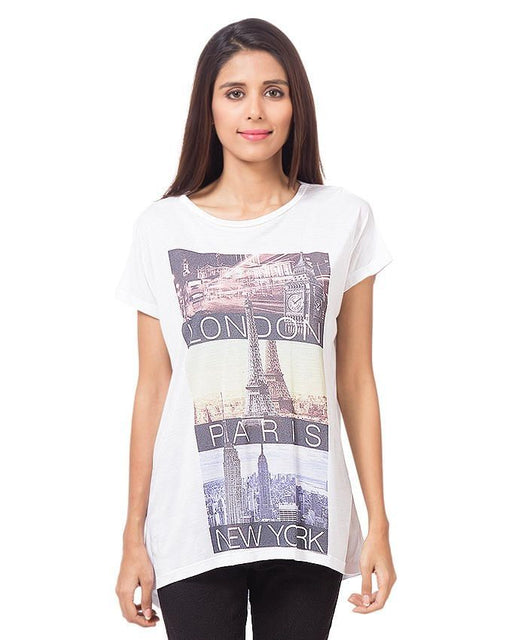 CrossRoads White Cotton Printed T-Shirt For Women