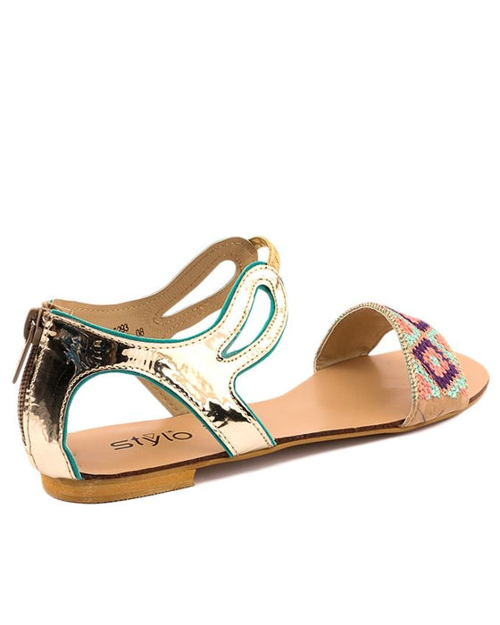 Stylo Shoes Sea Green Synthetic Leather Peep Toe Sandal For Women - L65569 - US Size