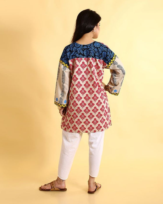 Ego Red & White Mix Cotton Kurti For Her