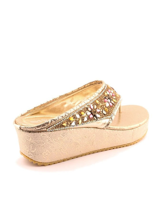 Stylo Shoes L87484 - Golden Color Synthetic Leather Wedge - US Size