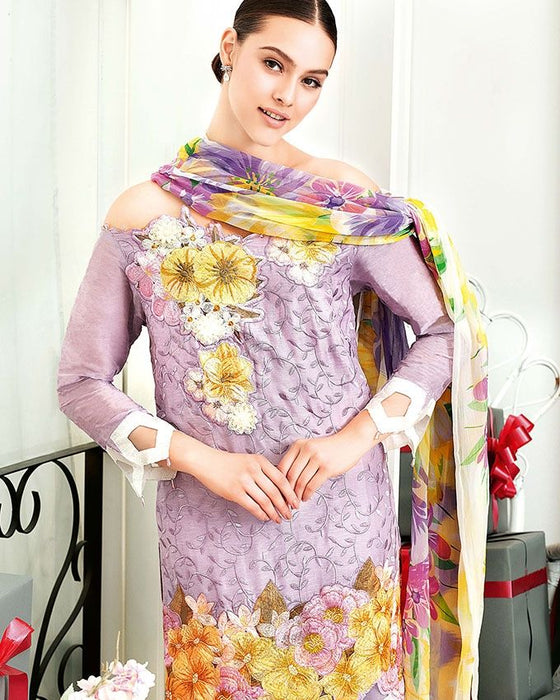 Gul Ahmed Lilac Festive Collection 2017 Eid Festive 3 Pc Premium Embroidered Chiffon-FE # 57 Unstitched
