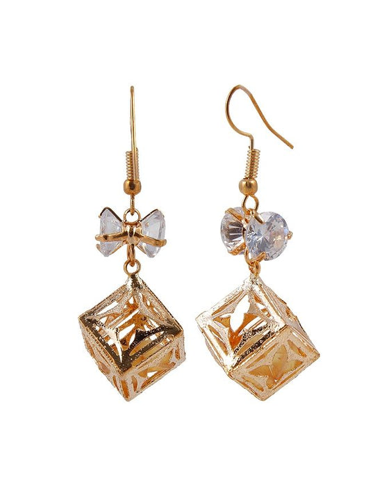 Style and Comfort Golden Square Box Ear Rings - ER-7322