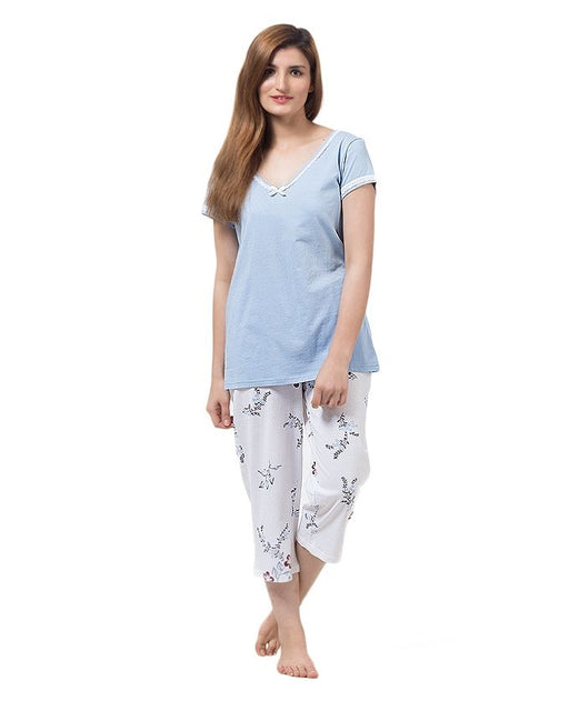 Style and Comfort Light Blue & White Cotton Nightwear for Women - LD-6171