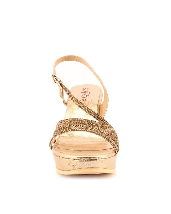 Stylo Shoes L65711 - Golden Color Synthetic Leather Wedge - US Size