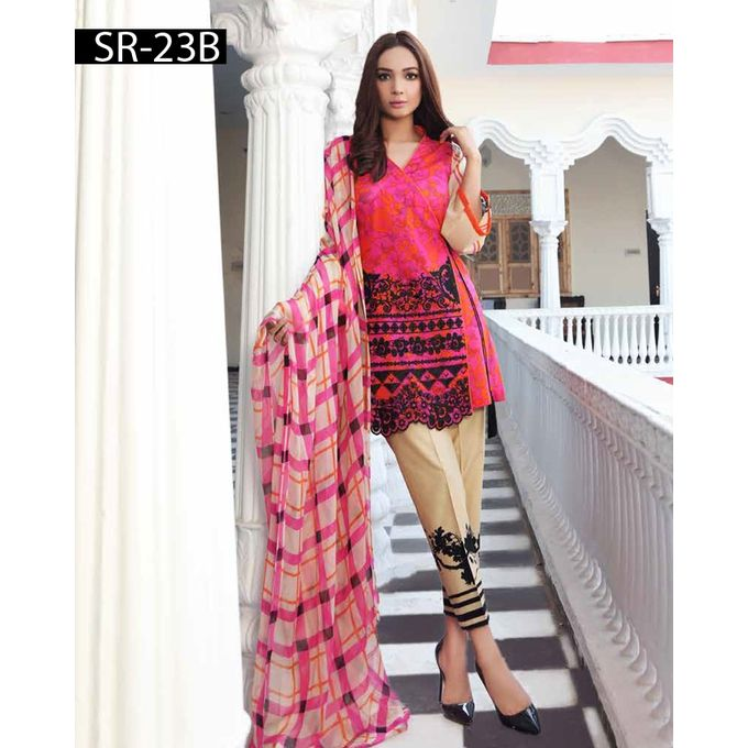 House of Charizma Un-stitched Pink Lawn Swiss Range Spring Summer Vol 2-2017