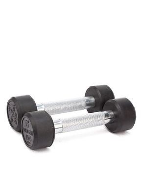 Let's Shop Pack of 2 - Rubber Coated Metal Dumbbells - 1KG - Silver & Black