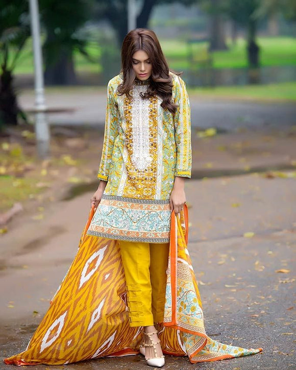 Gul Ahmed Yellow Spring/Summer 2017 Collection  Embroidered Lawn-CL # 250 B