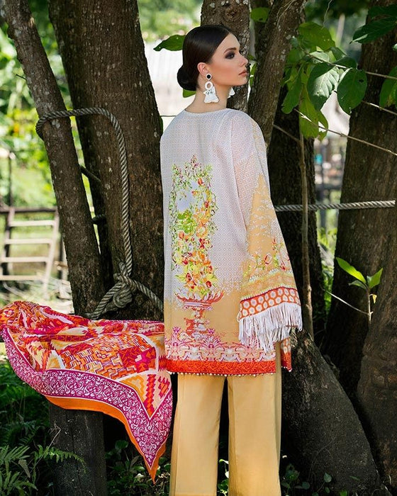 Gul Ahmed White Spring/Summer 2017 Collection Embroidered La Chiffon-C # 423