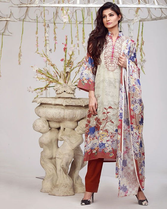 Lala Brown Lala Designer Lawn 3PCs