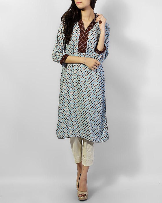 Style Inn Grey Malai Lawn Polka Dots With Brown Lining