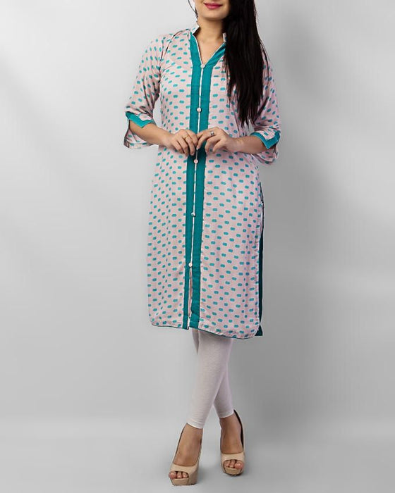 Style Inn Baby Pink Lawn Kurta With Seagreen Dots & Buttons- Sta 37