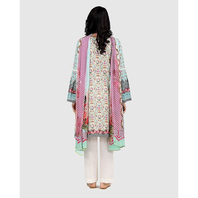 BEECHTREE Green Female Lawn Shirt & Dupatta