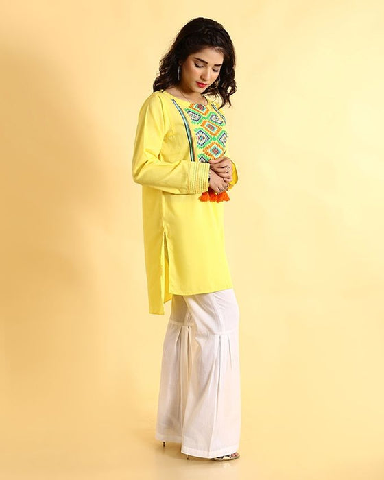 Ego Yellow Mix Cotton Kurti Compendium