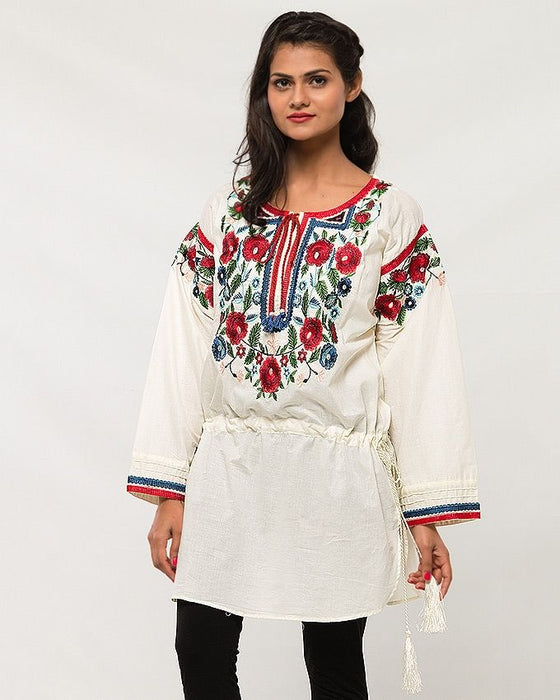 Origins Off-White Lawn Embroidered Top for Women
