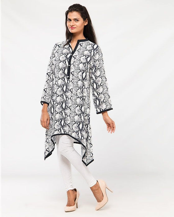 Misbah's Style Black and White Malae Lawn Kurta For Women