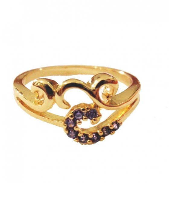 Style and Comfort Golden Purple Stone Ring - R-7230-G