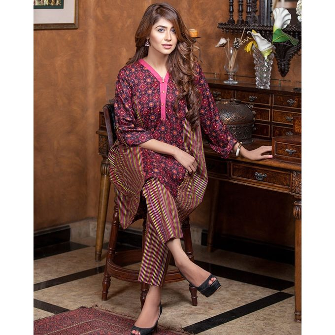 Lala Black Unstitched Lala Designer 2 PC Lawn