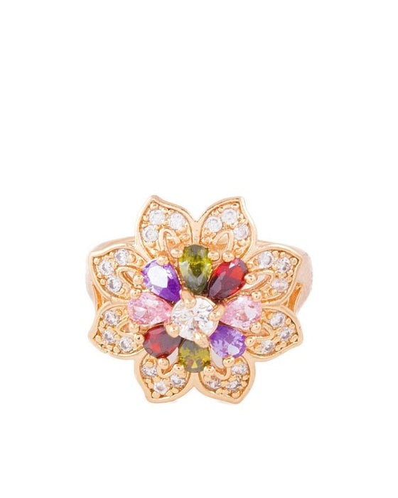 Style and Comfort Golden Metal Zircon Ring For Women - R-03