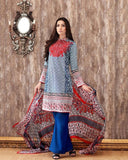 Gul Ahmed Blue Spring/Summer 2017 Collection Embroidered La Chiffon-C # 383