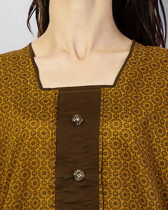 Style Inn Brown Kurta With Golden Fancy Buttons And Bunch