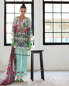 Gul Ahmed Green Spring/Summer 2017 Collection Embroidered Chantilly De Lace-CT # 183