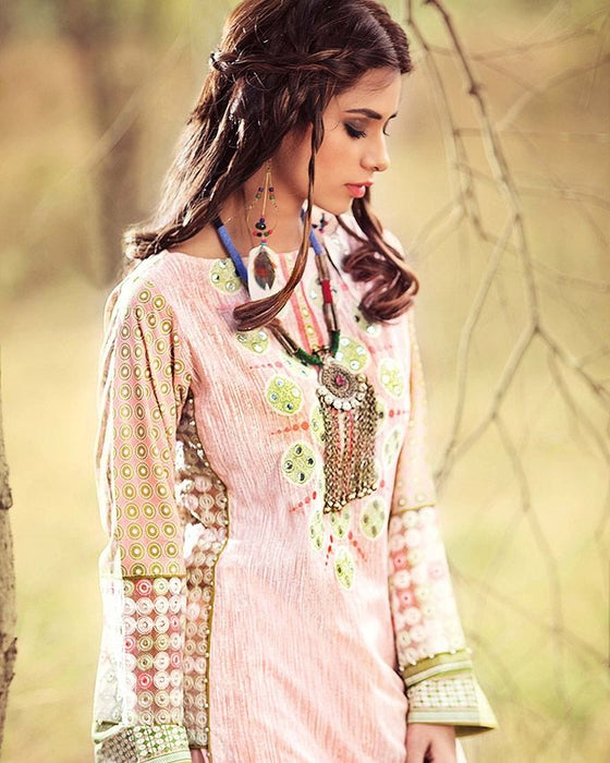 Gul Ahmed Baby Pink Festive Collection 2017 Gypsy 2 Pc Embroidered  Blended Chiffon-GT # 03 Unstitched