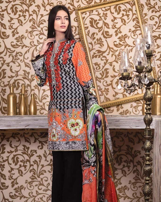 Gul Ahmed Black Khaddar Winter Collection 3-Piece Unstitched Suit For Women