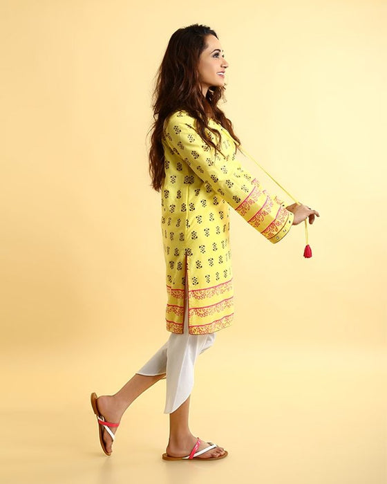 Ego Yellow Mix Cotton Printed Kurti For Women - Under the Sun