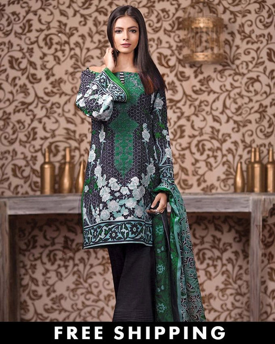 Gul Ahmed Green Khaddar Winter Collection 3-Piece Unstitched Suit For Women