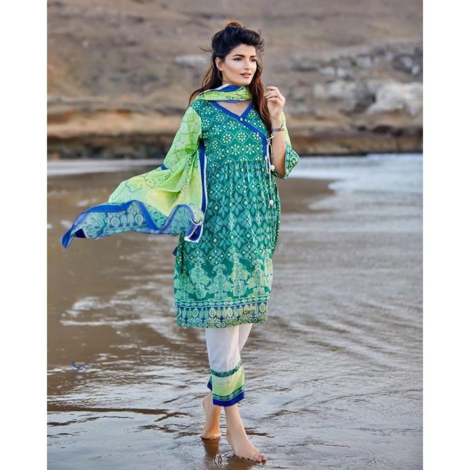 Bashir Ahmed Green Lawn 3pc Unstitched Suit for Women