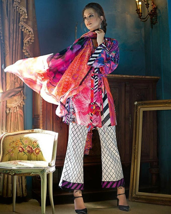 Gul Ahmed Pink Spring/Summer 2017 Collection Digital Printed Silk-DG # 16