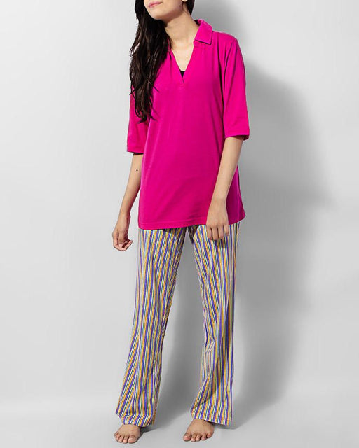 Style and Comfort Pink Shirt With Multi Lining Cotton Trouser Cotton Ld-9700