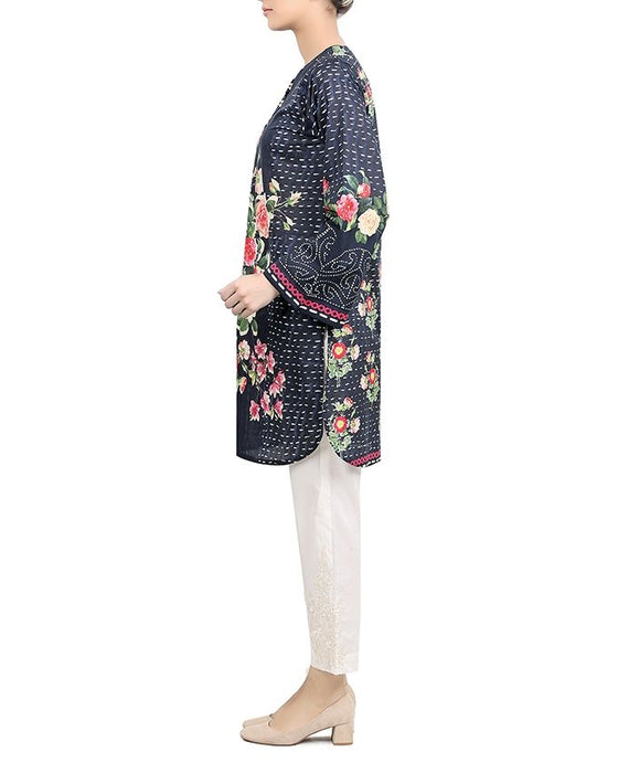 Sapphire Fly By Night Ready to Wear Lawn Printed Shirt  Navy Blue