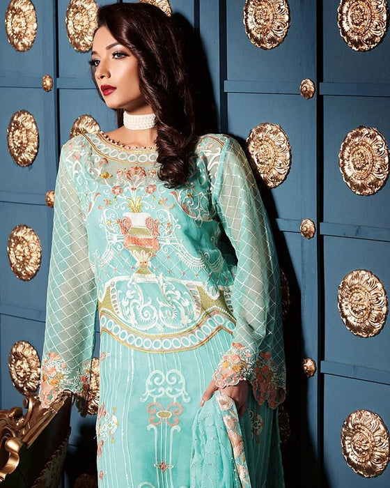 Gul Ahmed Sky Blue Festive Collection 2017 Luxury 3 Pc Premium Embroidered Chiffon-PM # 201 Unstitched