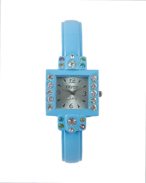 Style and Comfort Sky Blue Alloy Stone Dial Bracelet Watch For Women - LW-2118