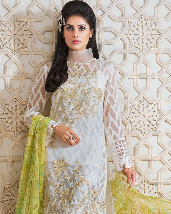 Gul Ahmed White Festive Collection 2017 Eid Festive 3 Pc Premium Embroidered Chiffon-FE # 60 Unstitched