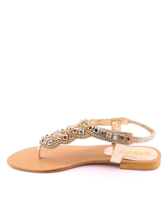 Stylo Shoes Golden Synthetic Leather Diamond V-Strap - L65631 - US Size