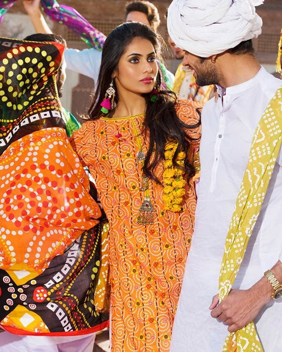 Gul Ahmed Orange Spring/Summer 2017 Collection Printed Lawn-CL # 243 B