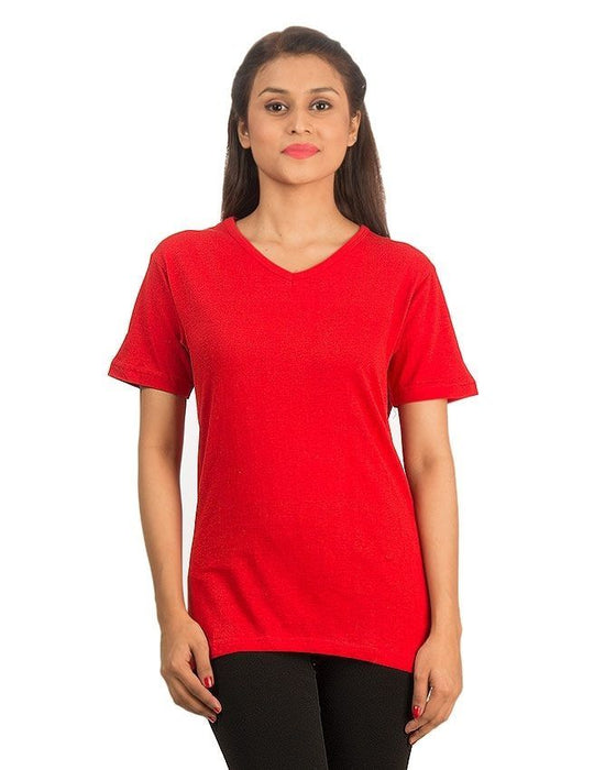 QK Styles Red Cotton T-Shirt For Women