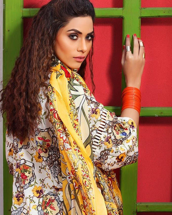 Gul Ahmed Yellow Spring/Summer 2017 Collection Soya Silk-SY # 09