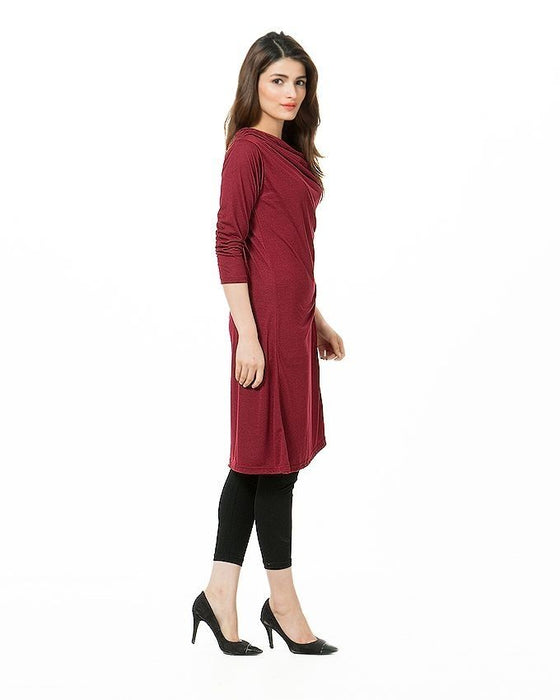QK Styles Stylish Side Button Top For Her - Maroon