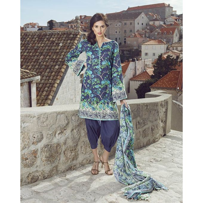 Image Fabrics Blue Unstitched Printed Lawn Liberation